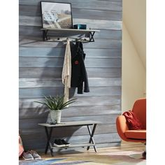 Adorn your entryway with crisp style and convenient functionality with this bench and coat hook set. Modern, industrial concrete coated-topped coat hook shelf with metal frame will offer a fresh new look to your entryway, mudroom or any space you need a bit more organization. Features: Open x-frame design 5 single coat hooks Mounts to wall with key hole spaces, plastic anchor and screws Coat Hook recommended weight capacity: 75lbs. Bench recommended weight capacity: 200lbs. Features… Coat Hook Shelf, Wall Mounted Coat Rack, Entryway Coat Hooks, Entryway Bench, Narrow Hall Tree, Hall Tree With Storage, Concrete Coatings, Solid Wood Shelves, Loft
