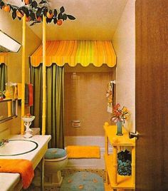 70s bathroom awesomeness, definitely need the lemon vines to finish off the striped bathroom in the basement.