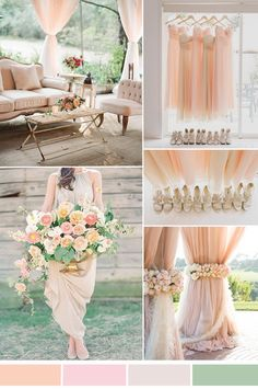 peachy pink netural wedding color scheme and bridesmaid dresses styles 2015