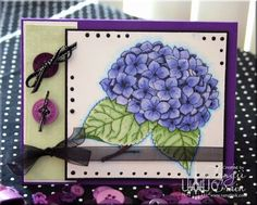 The Inking Spot of Crain Creations by Tangii Crain. Hydrangea by Just Inklined stamps. #cards, #copics, #stamping