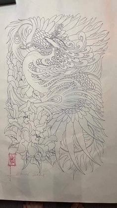 Japanese Flower Tattoo, Japanese Flowers, Drawing Techniques, Sleeve Tattoos, Line Art, Dragon, Outlines, Drawings, Design
