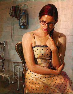"""Polka Dot Dress"" - Jim Salvati, b.1957 {contemporary figurative artist beautiful redhead female eyeglasses seated woman cropped painting #loveart} salvatidesign.com"