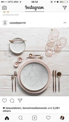 modern table setting with pink and marble and brass