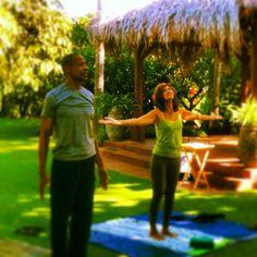 Nona and Tommye this morning:). #mauiyoga #stopdropyoga #openair #namaste