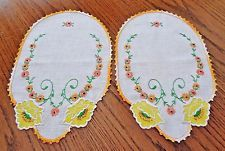 2 Piece Embroidered Vintage Arm Chair Vanity Doily Set Crochet