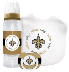 Infant New Orleans Saints Gray Stacked Fan Bodysuit