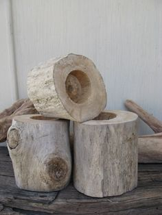 NATURAL DRIFTWOOD Candle Holders Tealights Beach House Decor. $15.00, via Etsy.