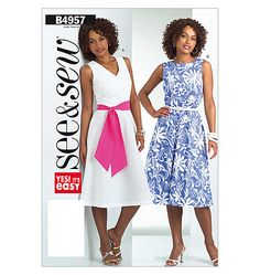 see & sew Butterick B4957 dress easy Sewing pattern size A 8-10 & 12-14 (uncut)