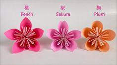 【折り紙】桃・桜・梅 立体の花 Peach Sakura Plum Flower
