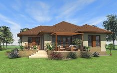 New Exterior House One Story Balconies Ideas Bungalow Haus Design, House Design, Small House Garden, Small Country Homes, Indian Home Design, Craftsman Exterior, House With Porch, Facade House, My Dream Home