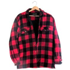 20% OFF SALE Vintage Red and Black Buffalo Check Flannel Jacket /... (110 BRL) ❤ liked on Polyvore featuring outerwear, tops, blouses, flannels, jackets and shirts