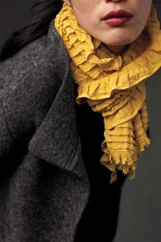 Eileen Fisher- mustard scarf- ruffles and tucks Grey Yellow, Mellow Yellow, Golden Yellow, Color Yellow, Mustard Yellow, Yellow Accents, Mustard Seed, Navy Blue, Looks Style