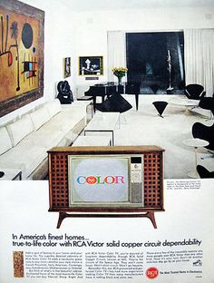 48 years ago in Sept of US homes were purchasing new color TVs by the 'droves'. More then of the shows now in the new prime-time TV season were broadcasting in color -- many of the former hit shows only seen in B&W switched to color this season. Vintage Tv Ads, Vintage Advertisements, Vintage Stuff, Color Television, Vintage Television, Art Deco Kitchen, School Colors, Old Tv, Color Of Life