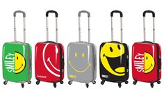 Decorated with eye-catching smiley patterns, these fun and poppy spinner suitcases can protect your things while on-the-go Smiley Emoji, Smiley Faces, Happy Faces, Spinner Suitcase, Smileys, Luggage Sets, Suitcases, Make You Smile, 3 Piece