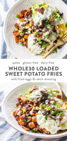 Loaded Sweet Potato Fries Loaded Sweet Potato Fries Kelsea Jensen kelseajensen Whole 30 With bacon fried eggs guacamole green onions and garlicky ranch nbsp hellip recipes whole 30 Whole Foods, Whole 30 Snacks, Paleo Whole 30, Whole Food Recipes, Healthy Recipes, Whole30 Bacon Recipes, Meatless Whole 30 Recipes, Rice Recipes, Whole 30 Meals