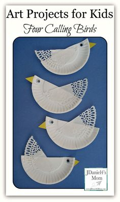 Art Projects For Kids- Four Calling Birds Four Calling Birds Paper Plate Craft- Fun craft works on cutting skills. Projects For Kids, Diy For Kids, Art Projects, Crafts For Kids, Bird Crafts, Animal Crafts, Fun Crafts, Paper Plate Art, Paper Plate Crafts