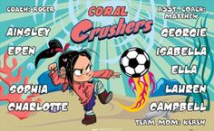 Crushers-Coral-41899 digitally printed vinyl soccer sports team banner. Made in the USA and shipped fast by BannersUSA. www.bannersusa.com