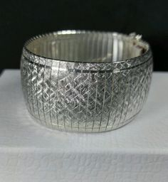 "ISC Vintage Sterling Silver 925 SIGNED 30mm Omega Chain 41g Bracelet 7.5"" ITALY"