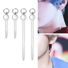 Korean Pop Bts Bangtan Dna V Kim Tae Hyung Titanium Tassel Earrings Jewelry Tassel Jewelry, Tassel Earrings, Silver Jewelry, Jewelry Box, Jewlery, Silver Rings, Kpop Earrings, Bts Tae, Champagne Gold Color