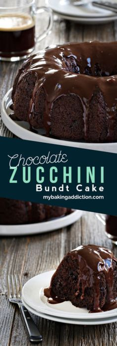 Chocolate Zucchini Bundt Cake is so easy to make. It's rich, delicious and no one will know it contains a vegetable! Delicious Cake Recipes, Cupcake Recipes, Yummy Cakes, Sweet Recipes, Baking Recipes, Cupcake Cakes, Dessert Recipes, Yummy Food, Cupcake Brownies
