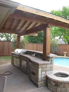 Wonderful Wooden Awning Pillars And Plafond Also Modern Bull Outdoor Gourmet Q Grilling Island With Built In Grill Blue Pool As Decor Outside
