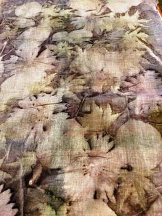 Ecoprinting/naturaldying/botanicalart Mixed leaves on logwood dyed butter muslin