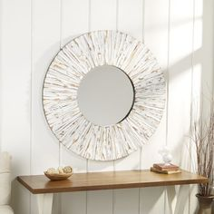 Highland Dunes Bellflower Accent Mirror & Reviews Round Wall Mirror, Mirror Set, Large Mirrors, Modern Full Length Mirrors, Contemporary Wall Mirrors, Wood Mosaic, Mirrors Wayfair, Video Wall, Distressed Painting