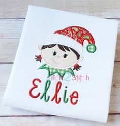 Elf Face Girl Applique - 3 Sizes! | Christmas | Machine Embroidery Designs | SWAKembroidery.com The Itch 2 Stitch