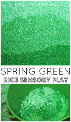 Green Colored Rice. A Sensory Bin activity for the Spring season. Encourage sensory play with this green colored rice. A fun way to keep hands occupied and encourage sensory processing. Looking for a fun activity for kids while they are at home during social distancing? You'll love this green rice activity.  #dyedrice #sensoryplay #sensorybin