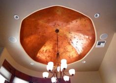 Creative Wall Designs created this stunning ceiling using our Copper and Olympic Gold from the Metallic Paint Collection over Marmorino plaster then waxed.
