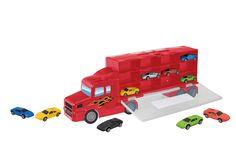 CARVILLE biltransporter Biltransporter med 10 biler til børnDer er plads til 24 biler i denne CARVILLE-biltransporter. Inkl. 10 metalstøbte biler til din samling. Bilen har et udtrækkeligt håndtag. Frihjulslastbil. 48cm.