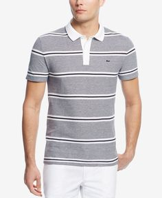 Polish your sporty casual look with this piquA polo from Lacoste, featuring a comfortable fit and a fresh horizontal-stripe pattern. | Cotton | Machine washable | Imported | Polo collar | Two-button c