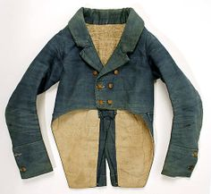 Coat Date: ca. 1800 Culture: probably American Medium: cotton, linen Dimensions: Length at CB: 20 1/2 in. (52.1 cm) The Metropolitan Museum of Art