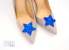 Dark blue glitter stars - shoe clips Manuu, Bridal shoe clips, Wedding shoe clips