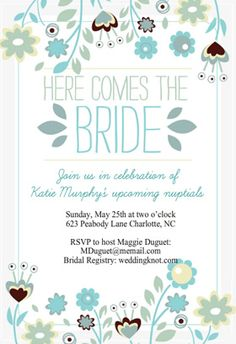 """""""Here comes the bride"""" printable invitation. Customize, add text and photos. print for free!"""