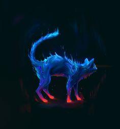 Night cat, Artem Misharin on ArtStation at http://www.artstation.com/artwork/night-cat