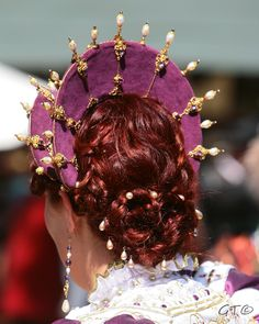 Persephone (worn by Hanna Longdo at the Renaissance Pleasure Faire in Irwindale, CA—Designed in celebration of the Golden 50th Jubilee.  Amethyst velvet, white freshwater pearls in various sizes, swarovski crystals, brass findings, gold chain, lace.  Queen Elizabeth headdress designed and created by Michelle Fennema 2012.  Photo by Gar Travis.