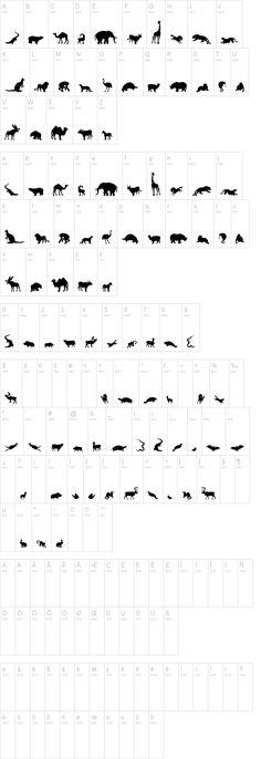 animal alphabet dingbats -- silhouettes!