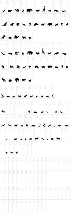 animal alphabet dingbats -- silhouettes!