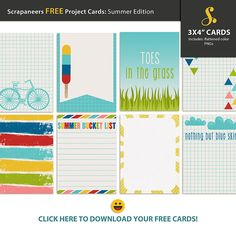 FREE Scrapaneers Free Project Cards : Summer Edition