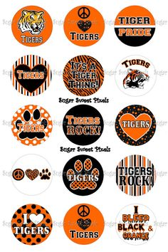 INSTANT DOWNLOAD Orange Tigers School Mascot 1 by sugarnspicebow, $1.69