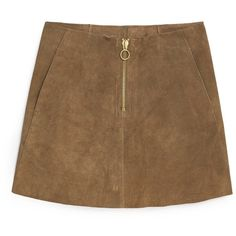 MANGO Premium - Suede Skirt ($120) ❤ liked on Polyvore featuring skirts, mini skirts, bottoms, suede skirt, short mini skirts, brown suede mini skirt, zipper skirt and brown skirt