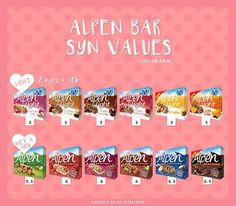 Not all of the Alpen Bars can be used as a healthy B choice. This is a handy graphic to show the syn values of the most popular Alpen bars. astuce recette minceur girl world world recipes world snacks Slimming World Healthy Extras, Slimming World Syns List, Slimming World Shopping List, Slimming World Sweets, Slimming World Survival, Slimming World Syn Values, Slimming World Breakfast, Slimming World Recipes Syn Free, Slimming World Plan