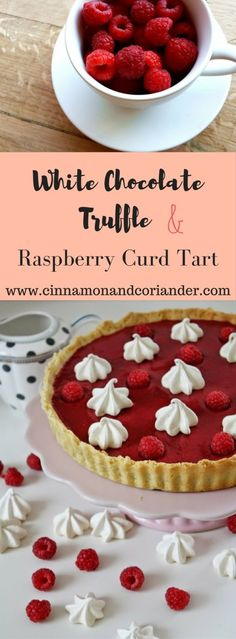 White Chocolate Truffle Tart with Raspberry Curd.  White Chocolate and Raspberries are a match made in heaven! Try this stunning White Chocolate Truffle Tart with Raspberry Curd for your next dinner party!