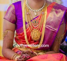 South indian bride adorning a short cz stones mango necklace; a medium length simple gold chain with peacock ruby pendant; three line gold haram with Goddess Lakshmi pendant; long plain kasu haram and simple armlets. South Indian Bridal Jewellery, Indian Wedding Jewelry, Indian Jewellery Design, Indian Jewelry, Bridal Jewelry, Gold Jewelry, Jewelery, Kerala Jewellery, Saree Jewellery