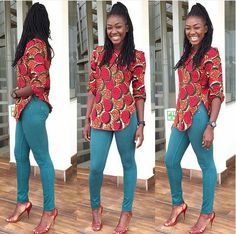 Check out these 30 stylish and trendy ankara tops to wear with jeans. These styles will help you get started with the trend or add to it. #DenimOnPrint