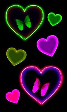 By Artist Unknown. Original Iphone Wallpaper, Butterfly Wallpaper Iphone, Neon Wallpaper, Heart Wallpaper, Wallpaper Backgrounds, Phone Wallpapers, Butterfly Art, Butterflies, Green Background Video