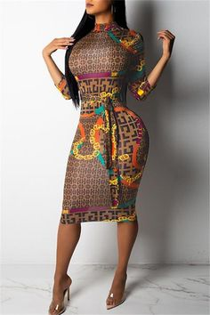 2018 new autumn winter sexy women multi color letter print stand neck wrist sleeve slit bodycon midi dress vestidos 3545 Style Africain, Bodycon Dress With Sleeves, Slit Dress, Belted Dress, Tank Dress, Dress Long, Estilo Fashion, Inspiration Mode, Wholesale Clothing