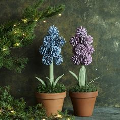 Käpyhyasintti – tässä helppo ohje! | Meillä kotona Pine Cone Decorations, Christmas Decorations, Hobbies And Crafts, Diy And Crafts, Cone Trees, Beautiful Bouquet Of Flowers, Pine Cone Crafts, Unique Plants, Xmas