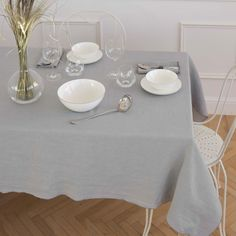 Grey Washed Linen Tablecloth and Napkin
